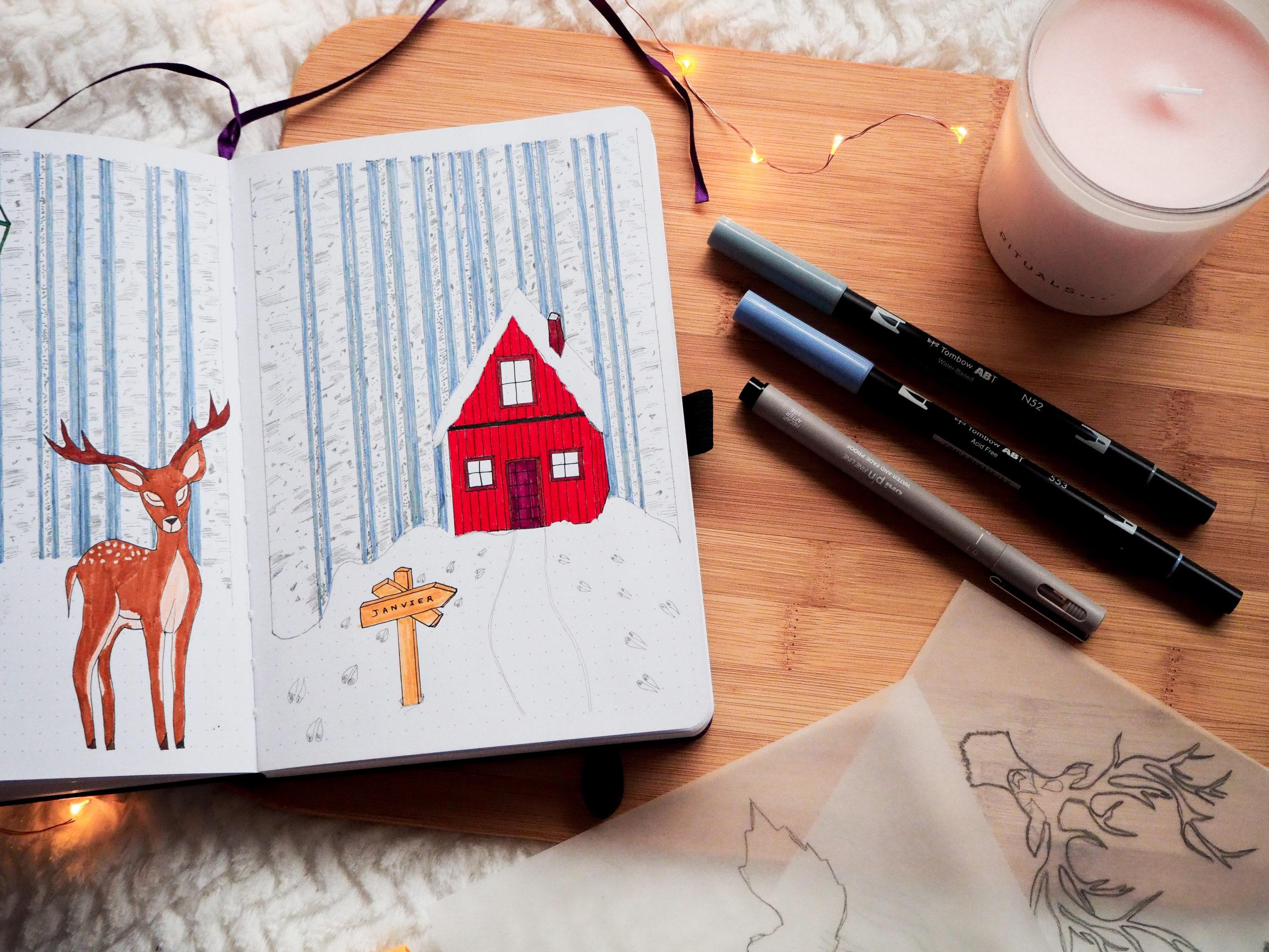 Winter-wonderland-red-cabin-forest-wood