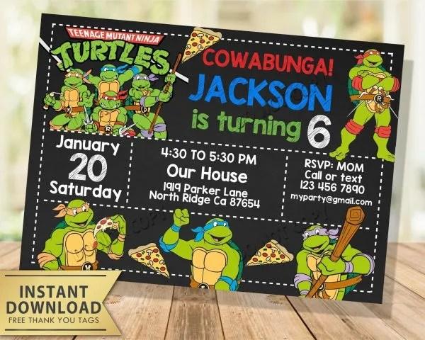 ninja turtles invitation my party