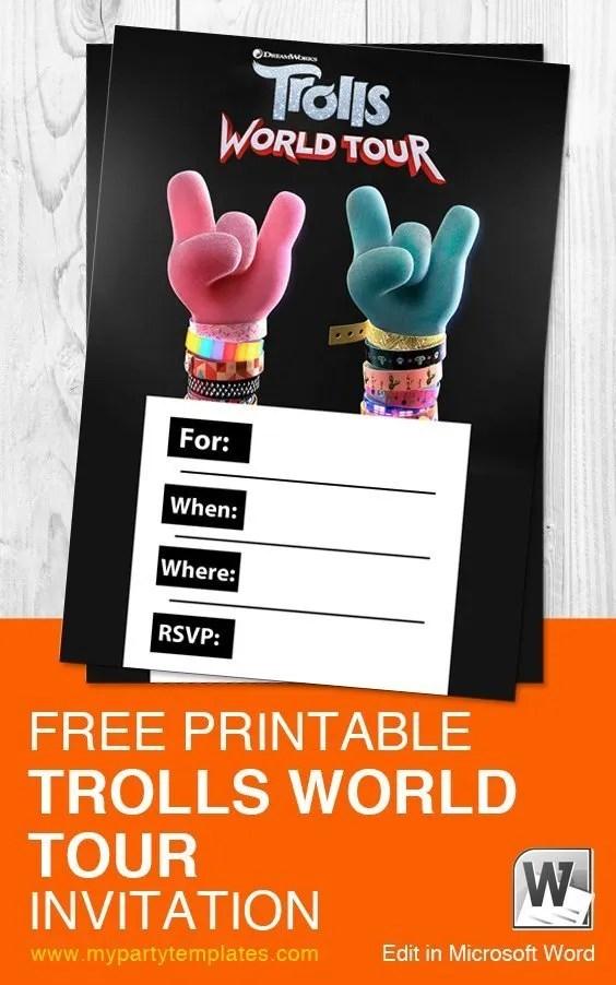 free trolls world tour invitation