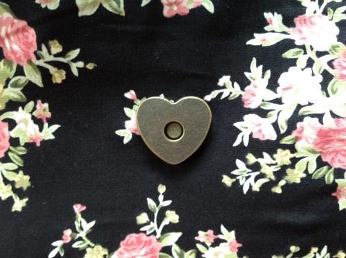 handmade oversized clutch, heart-shaped metal magnet clasp
