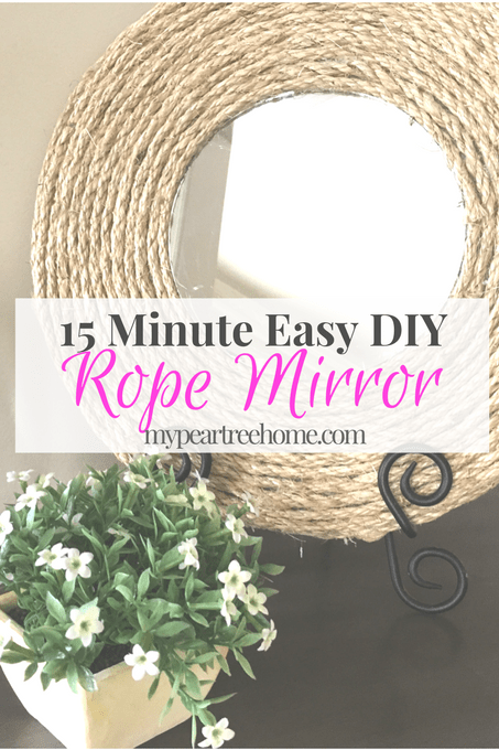 Rope Mirror, Mirror, DIY, Rope Mirror DIY, 15 minute DIY, $5 craft, farmhouse, beach decor