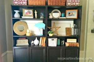 Need help styling your IKEA bookcase? Click to the post for inspiration