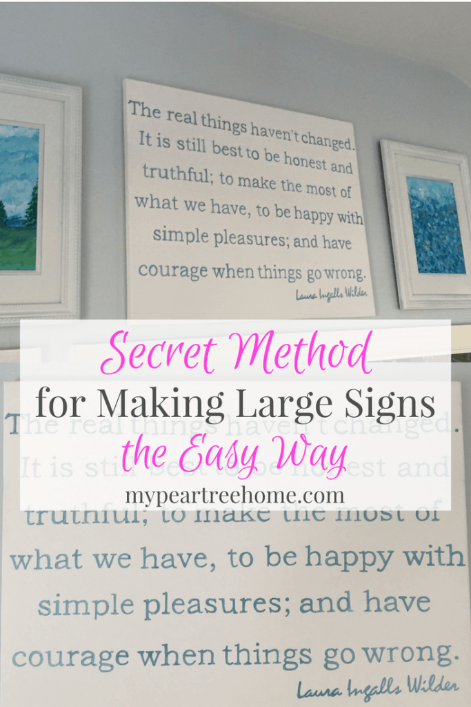 Want to learn how to make those canvas signs you see all over Hobby Lobby and other home stores? Click to the post to see how to make large art for your home for just a few dollars!