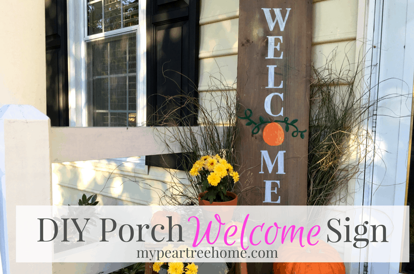 Want to make an easy DIY porch sign? Click to the post to get the free printable template to make yours!