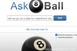 Asking the magic eight ball a question about Valentine's Day.