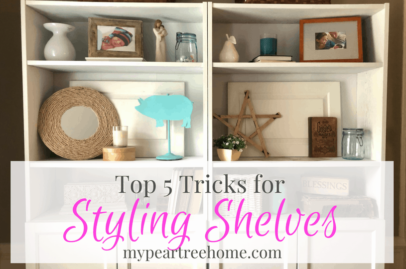 Do you get stuck on how to decorate your shelves? Click to the post for easy tips and tricks!