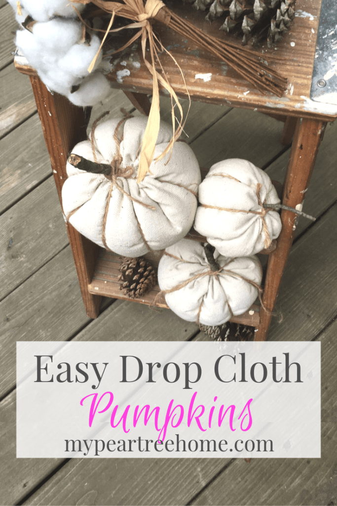 tutorial for making fabric pumpkins using drop cloth