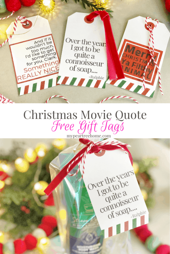 Love Christmas movie quotes? Then you will want to print these free Christmas gift tags that include a quote from Christmas Vacation, A Christmas Story, and Home Alone. Click to the post to get your free printable gift tags for your Christmas wrapping! #christmasgifttags #gifttags #christmasmoviequotes #christmasvacation #acrhristmasstory #homealone