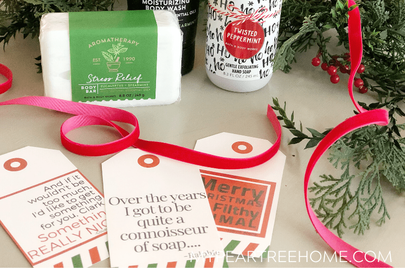 Love Christmas movie quotes? Then you will want to print these free Christmas gift tags that include a quote from Christmas Vacation, A Christmas Story, and Home Alone. Click to the post to get your free printable gift tags for your Christmas wrapping!