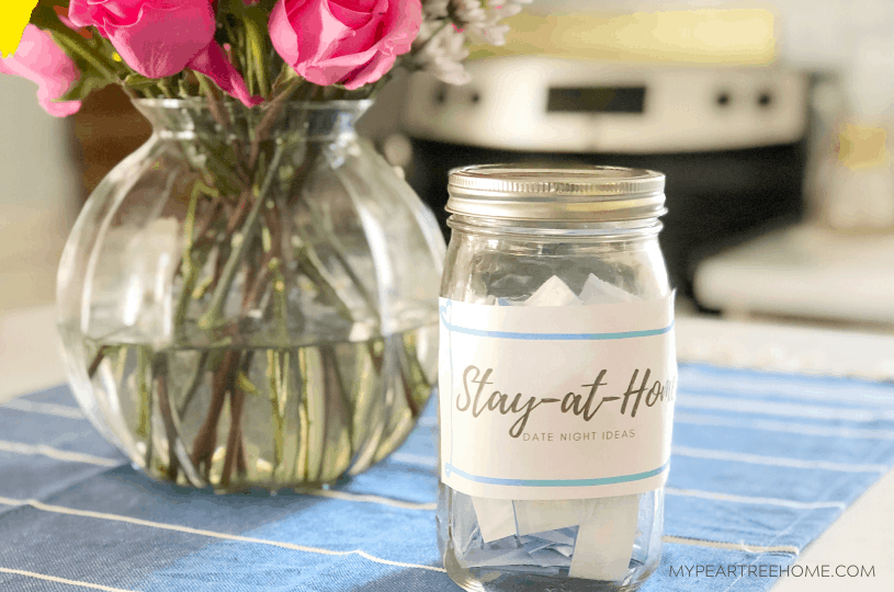 "stay at home date night ideas showing a ""date night in a jar"""