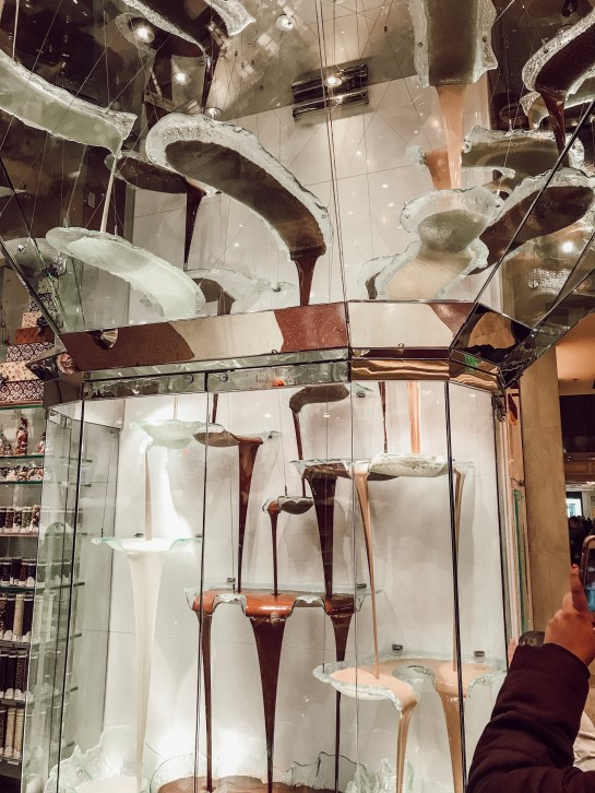 World's Largest Chocolate fountain in the Bellagio, las Vegas