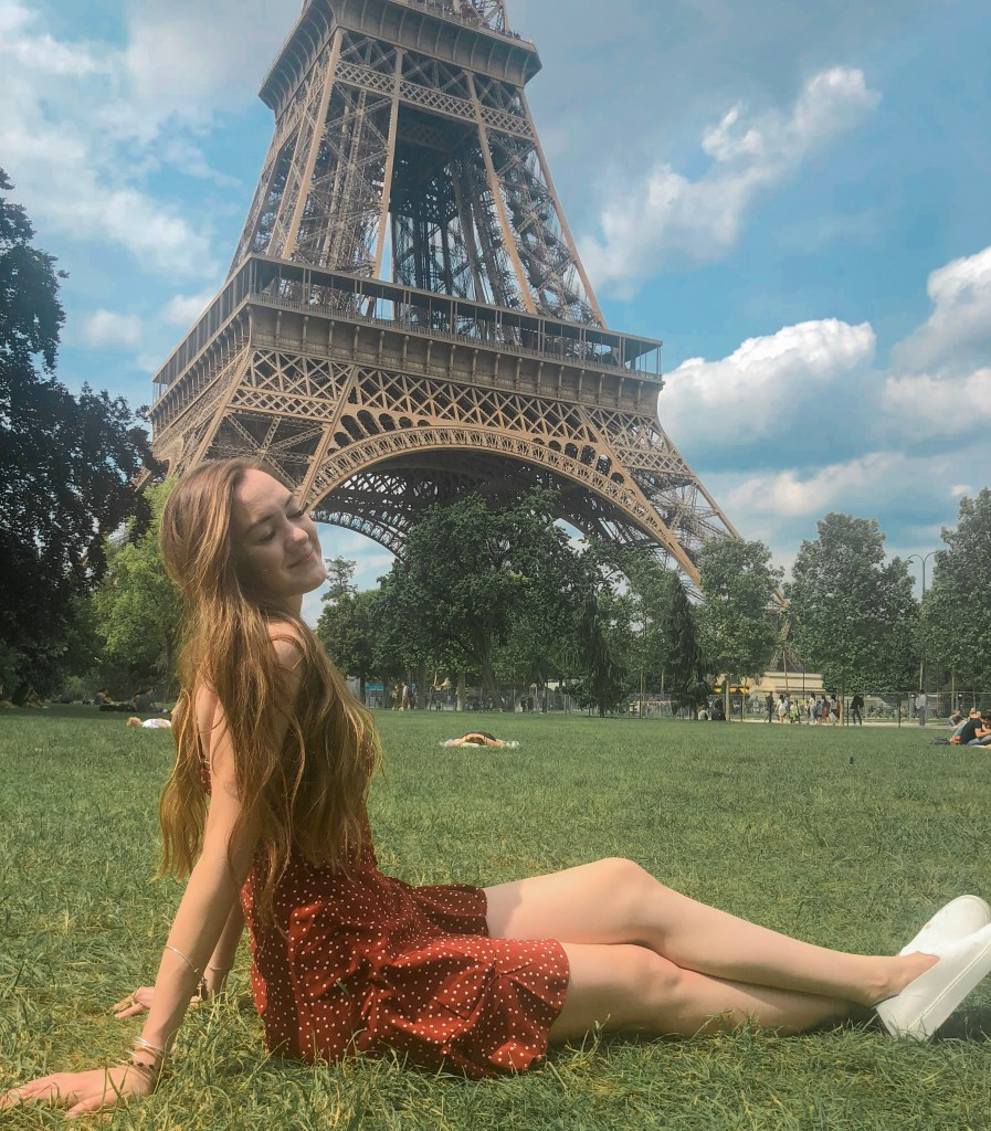 Picnicking in front of the Eiffel Tower in Paris