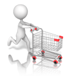 figure with shopping cart