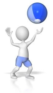stick figure hitting beach ball