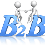 """2 stick figures shaking hands while sitting on the big blue letters """"B2B """""""
