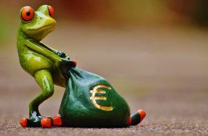 frog dragging bag of Euros