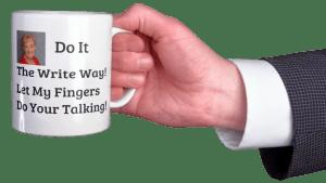 hand holding coffee mug with MPP logo