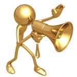 stick figure with megaphone - ClipArt