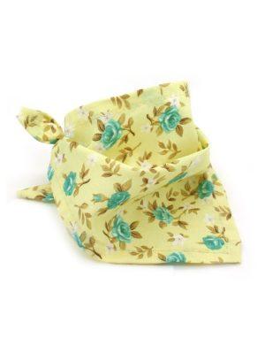 Bandana para Cachorro Amarela e Azul Estampa Floral