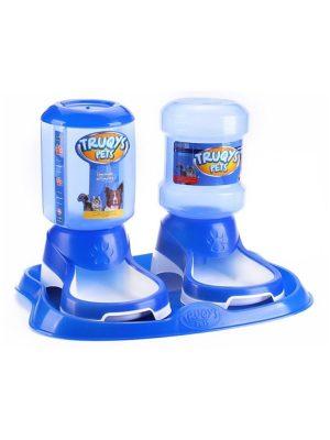 Kit Comedouro Bebedouro Automático Cães e Gatos 2 litros Azul Truqys Pets
