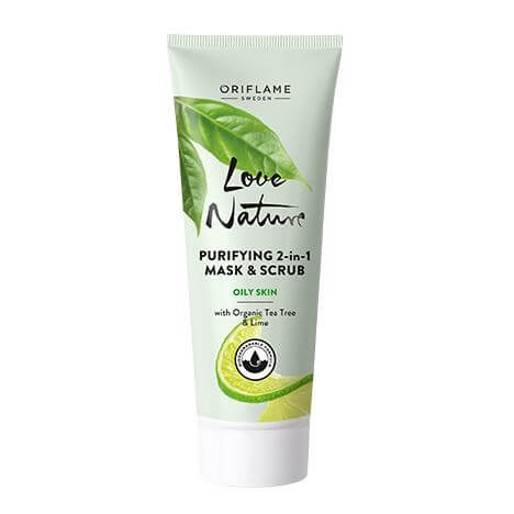 35576 oriflame - mặt nạ love nature Purifying 2-in-1 Mask & Scrub with Organic Tea Tree & Lime