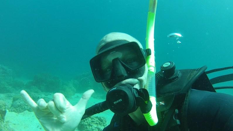 Me waving scuba