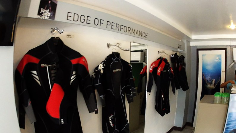 Wetsuits in shop
