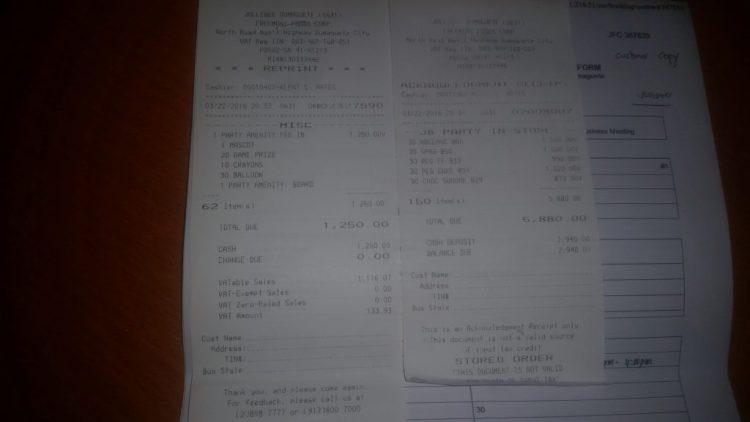 Jollibee receipt 3 22 16