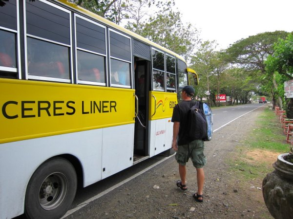 Catching a Ceres Liner bus to Boracay in Tigbauan