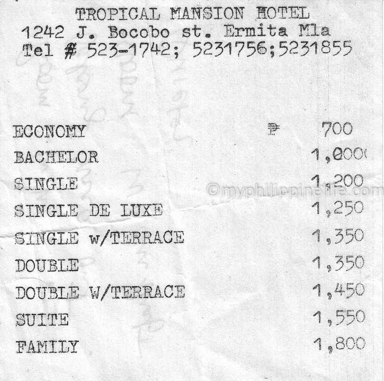 Tropical Mansion Hotel Rates