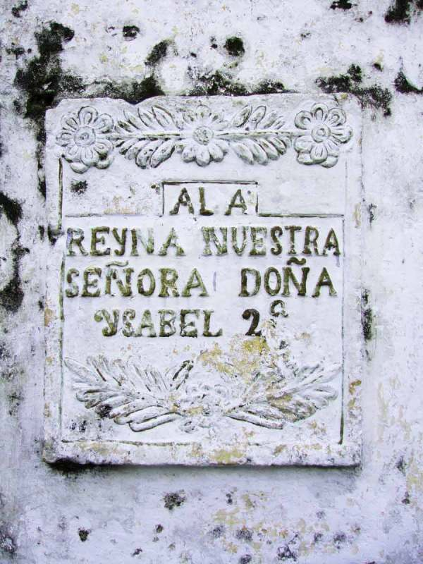 Historical fabric incorporated into monument, Villa Plaza (to King Phillip's second wife?)