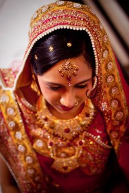 A perfectly dressed beautiful indian bride
