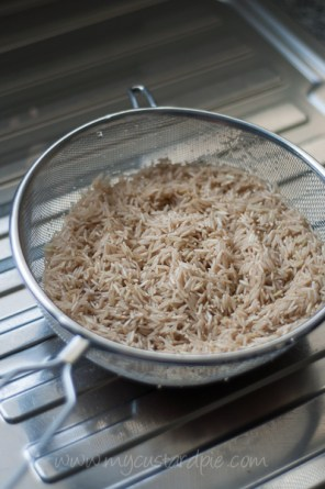 draining rice