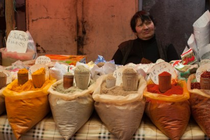 Spices for sale in the market in Tbilisi, Georgia