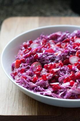 red cabbage and pomegranate salad on mycustardpie.com