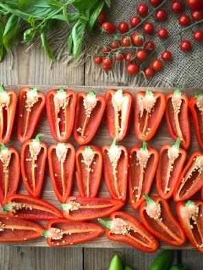 Roast caprese stuffed mini peppers prep