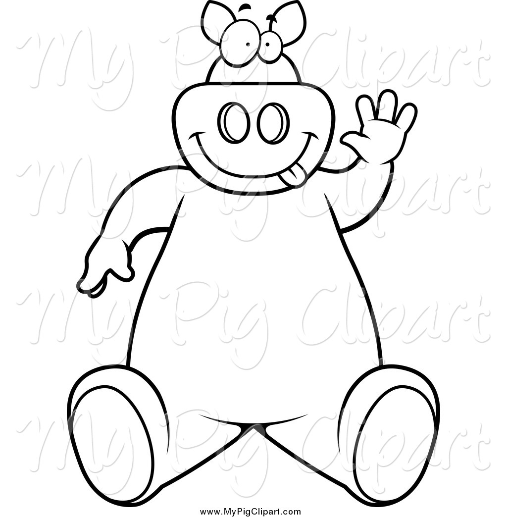 Swine Clipart Of A Black And White Goofy Pig Sitting And