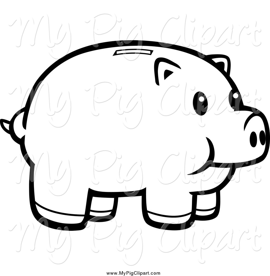 Swine Clipart Of A Black And White Happy Piggy Bank By