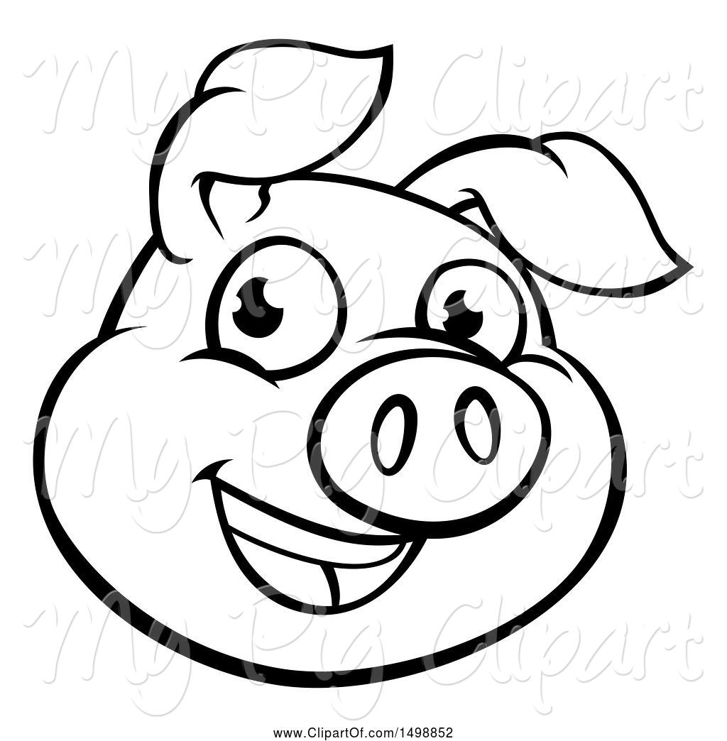 Swine Clipart Of Cartoon Black And White Happy Pig Face By
