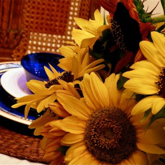 Cobalt and Sunflowers