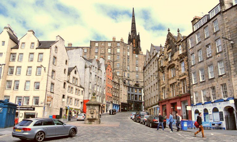 Where Victoria Street meets the Grassmarket.
