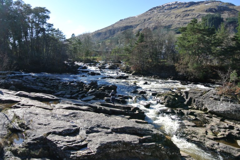 The Falls of Dochart in the Scottish Highlands.