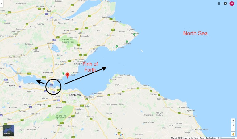 Google map showing the Firth of Forth.