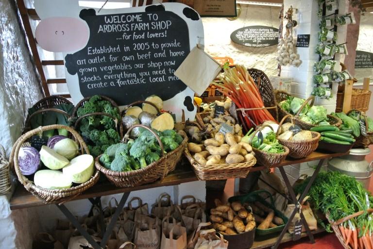 Baskets of vegetables at Ardross Farm Shop.