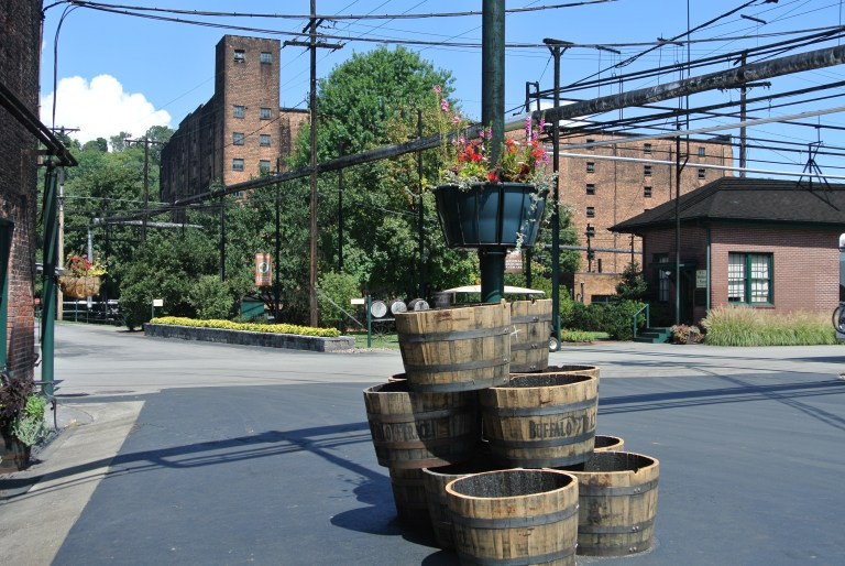 Flower pots in front of Buffalo Trace Distillery.