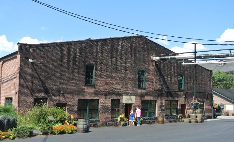 A dirty brick building.