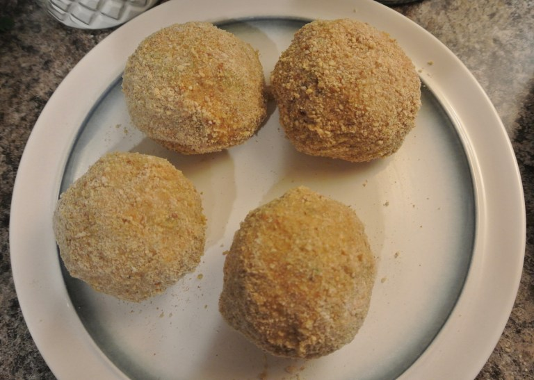Scotch Eggs before they have gone into the fryer.