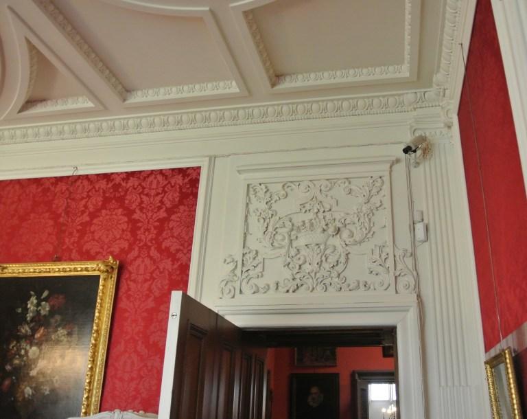 Ornate ceiling carvings.