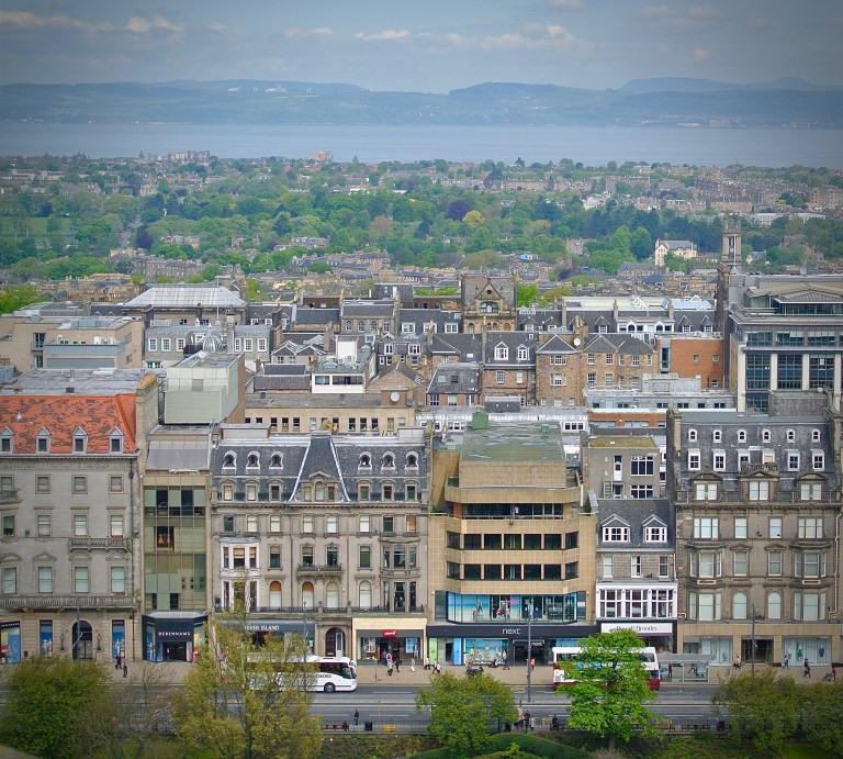 Looking over the rooflines and colorful buildings of Edinburgh's New Town.