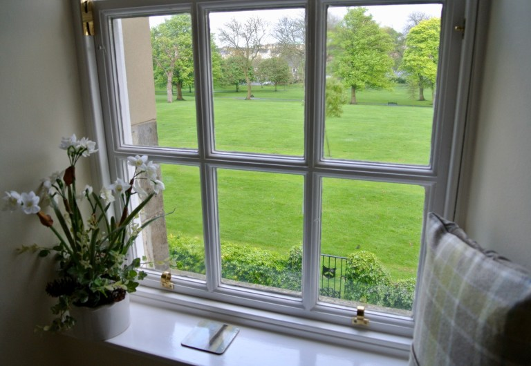 A window seat in Pilrig House that looks over Pilrig Park.